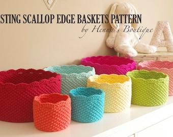 Crochet Basket Pattern - Nesting Scallop Edge Baskets - PDF