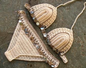 Sea Shells Bikini crochet, Handmade crochet bikini, Crochet bikini top, Brazilian bikini bottom, Crochet swimwear, Crochet bikini set