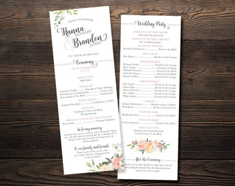 Wedding Program- Watercolor Blossoms- Customized Digital Files or Printed Pieces