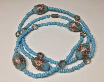 Blue Wedding Cake Venetian Glass Beaded Vintage Necklace
