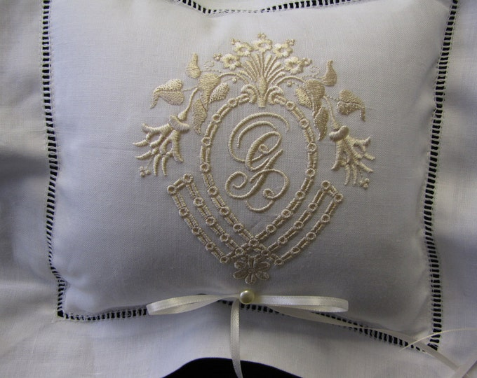 Monogrammed  Ring Bearer Pillow, Wedding Ring Pillow, Embroidered Ring Pillow