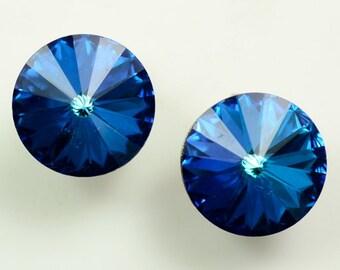 Weiss© Glowing Blue Rivoli Glass Rhinestone Earrings