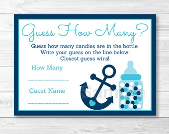 Cute Anchor Guess How Many Game / Nautical Baby Shower / Anchor Baby Shower / Candy Guessing Game / PRINTABLE INSTANT DOWNLOAD A222