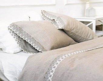 Natural lace linen duvet cover - natural flax grey linen quilt cover, stonewashed linen doona cover - Twin Queen King lace linen bedding