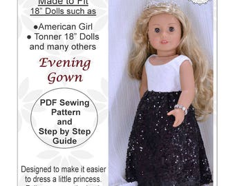 18 inch doll dress pattern, Evening Gown Dress, for dolls such as American Girl Doll, PDF Sewing Pattern, Doll clothes, Christmas gift