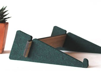laptop computer stand of bamboo and felt green bottle - large