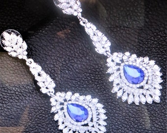 Blue and white Crystal Drop Earrings, wedding earrings, teardrop earrings,dangle crystal earrings