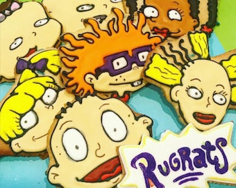RUGRATS SUGAR COOKIES | 90s Cartoon Nicktoons Inspired Decorated Sugar Cookie Gift Set/8 | Throwback Party Favors Nickelodeon