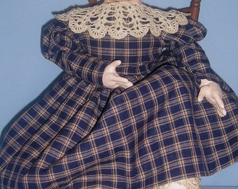 Nettie Jo, an original design folk art cloth doll in the style of Izannah Walker