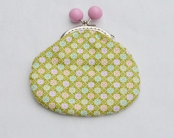Lime Petals Large Coin Purse Change Pouch with Metal Kiss Clasp Lock Frame - READY TO SHIP