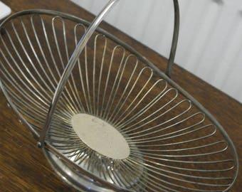 vintage silver plate wire basket bowl