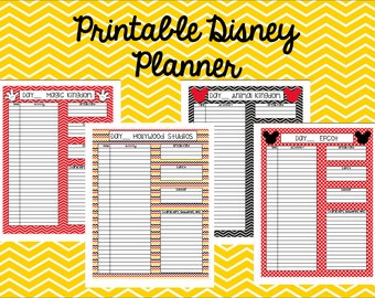 Instant Download Printable Disney Planner, Agenda, Itinerary