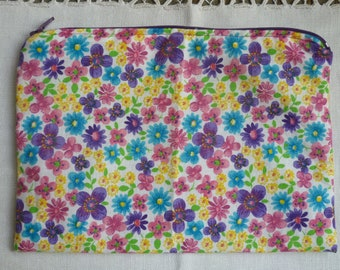 Floral pouch with zipper pocket