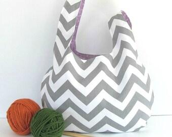 Large Knitting bag, Gray chevron project bag, Shawl knitting, Yarn bag Gift for Knitters