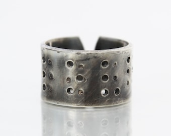 Mens Ring, Hand Forged Sterling Silver Ring, Love in Braille - As seen at the GBK 2018 Oscars Gift Lounge!