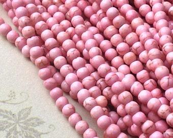 4 mm Light Pink Turquoise Gem Stone Beads(gz sdu - .mthc)