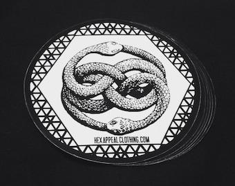 Ouroboros Sacred Geometry Sticker 3x3 Vinyl Circle Art Decal