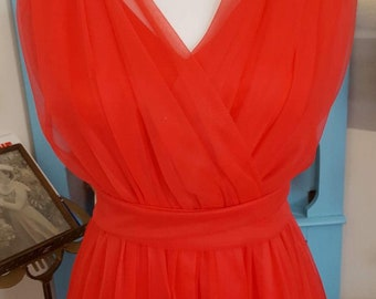 Early 60s RED nylon chiffon grad special occasion dress