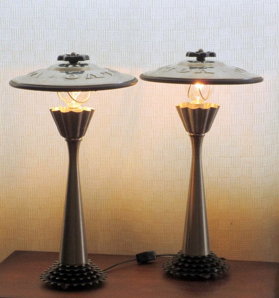 Siamese If You Please candlestick, gear, and hubcap lamps - pair with shades