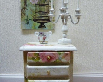 """Dresser nightstand Miniature - style """"Shabby Chic"""" - 1/12 scale - accessory of doll Miniature home decor"""