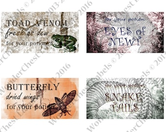 """Halloween Party Labels Printable 2.6"""" x 5""""  4 designs - Potion label, Soda water bottle, instant doqnload ,  jpg"""