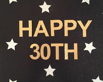 HAPPY 30TH Gold Glitter Bunting Garland. 30th Birthday Party Thirty Banner decoration