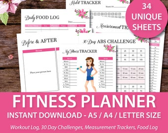 Fitness Planner, Fitness Planner Inserts, Fitness Journal, Food Diary, Weight Loss Tracker, Workout Journal, A4 A5 Letter Size