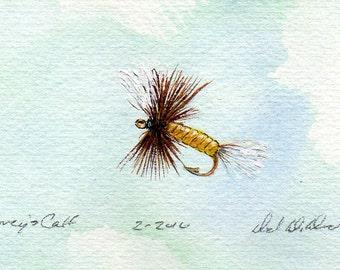 Fishing Art - Original Art - Watercolor - Coreys Calf Tail - Dry Fly - Made in Michigan - Michigan Artist - Fly Fishing - Black Frame