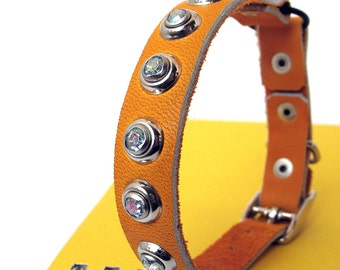 Tangerine Leather Cat Collar with Crystal Sparkles, Size XS, to fit a 7-9in Neck, Eco-Friendly, OOAK