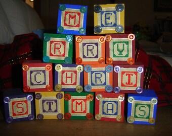 Handmade Merry Christmas Stacking Blocks, Handmade Christmas Decoration, Christmas Cross Stitch Blocks, Christmas Decoration, Blocks