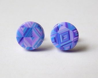 Small Polymer Clay Stud Earrings, 10 mm