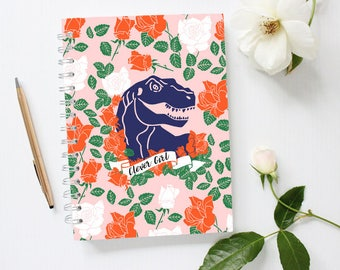 Dinosaur Notebook, Clever Girl Notebook, Raptor Notebook, Trex, Pink Notebook, Lined Notebook, Spiral Notebook,