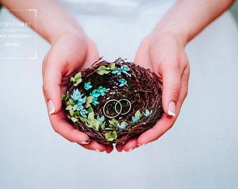 Boho wedding Ring Bearer Bird Nest Spring wedding Bridal accessory Romantic wedding Woodland ring bearer Rustic wedding ring bearer pillow