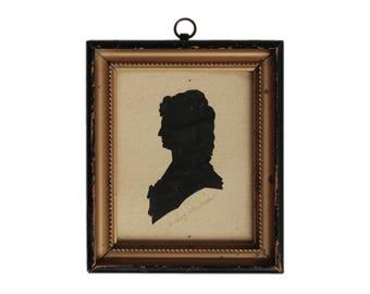 Antique German Marie Antoinette Framed Silhouette