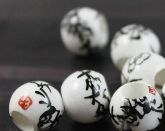 20pcs 12MM hand painted bamboo porcelain round beads