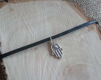 "Beautiful black choker necklace with Tibetan silver Hamsa hand palm charm pendant - 12-15"" - 3 style options!!"