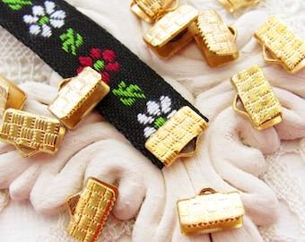 Vintage Brass 10mm Ribbon End Crimps Mesh or Bracelet Ends with Ring - 10