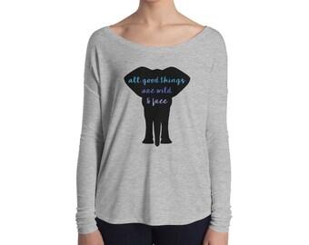 All Good Things (Elephant) Ladies' Long Sleeve Flowy Tee