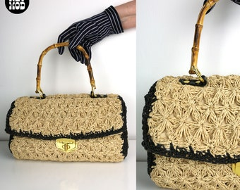 Vintage Inspired Black & Beige Raffia Designer Style Top Wood Handle Purse Pocketbook
