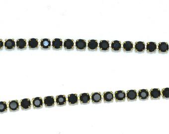 stunning black 03mm rhinestone chain dangles