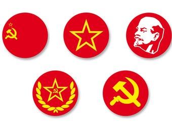 Lot Pins Ø25mm - o38mm Pinback Button Badge / Magnet o38mm USSR