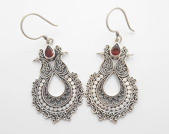 Solid Sterling silver Garnet gemstones dangle earrings / silver 925  / 2.25 inch long