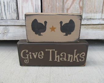 Primitive Give Thanks Thanksgiving Turkey Set of 2 Hand Painted Stacker Blocks GCC6708