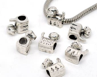 Spacer beads (x 4) silver metal dog