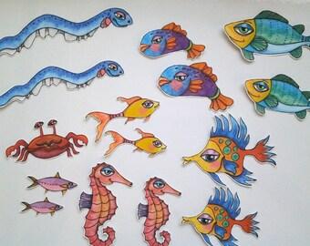 Ocean Fish Sticker Set, unique hand cut art stickers, fish sticker set