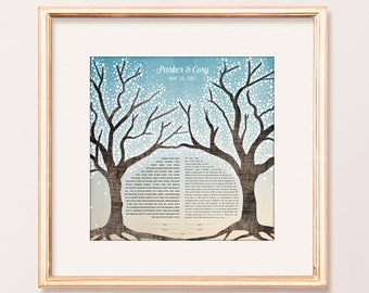 Contemporary Custom Ketubah Cherry Trees Dawn