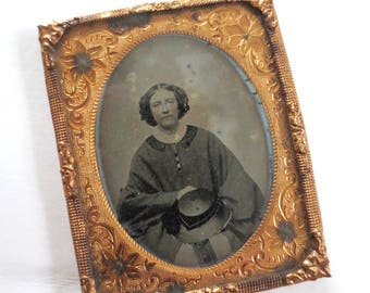 Rare 1850s Ambrotype 1/9 Photo California Pioneer Woman Gold Rush Wild West Historical Portrait Mothers Day Gift Jackpot Jen Vintage