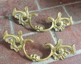 Vintage French Provincial Pull Handles - Brass - Large Size