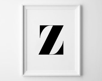 Z Letter Print, Alphabet Prints, Capital Letter, Typography Wall Art, Black and White, Scandinavian House, Minimalist Style