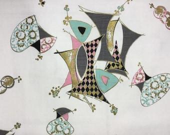 Vintage Atomic Barkcloth * Upholstery Fabric * Drapery Yardage